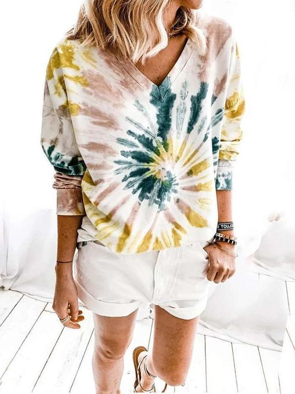 Fashion Casual Plangi V neck Long sleeve T-Shirts
