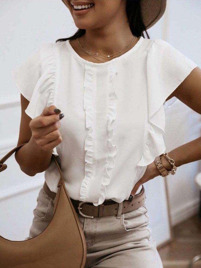 Fashion Pure Round neck Short sleeve Falbala T-Shirts
