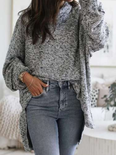 Pure High collar Long sleeve Irregular Knit Sweaters
