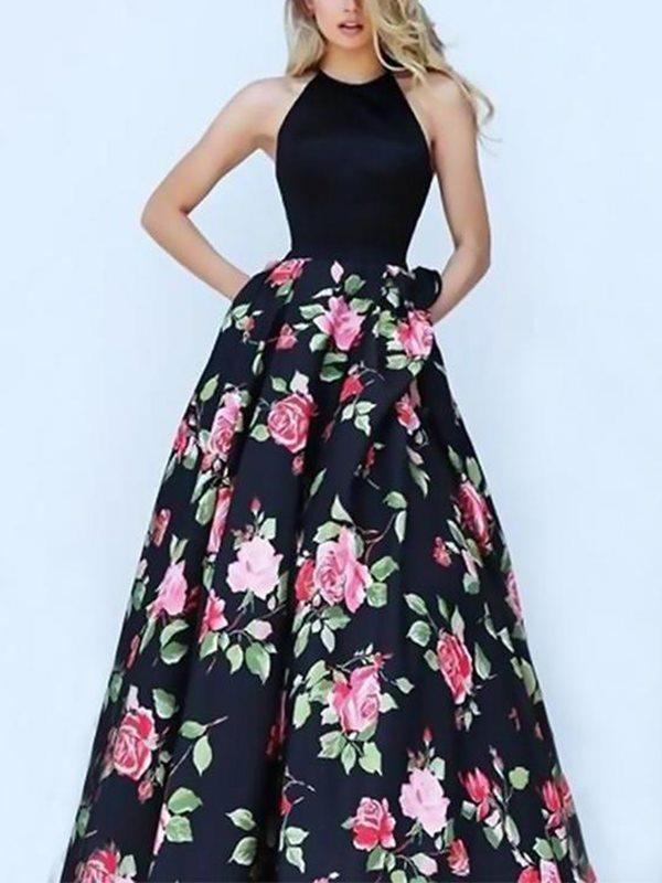 Floral Split-joint Backless Printing Maxi Dresses