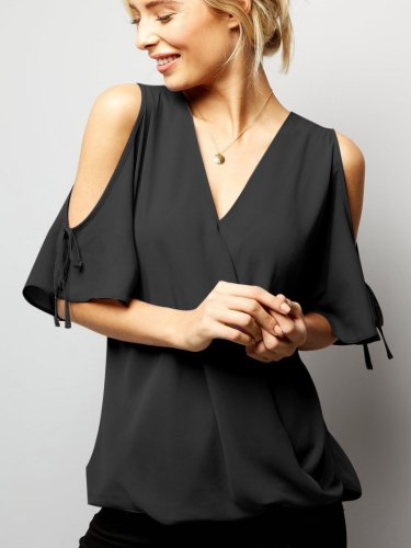 Fashion Off shoulder V neck T-Shirts