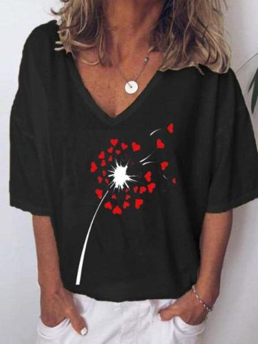 Casual Loose Dandelion print V neck Short sleeve T-Shirts