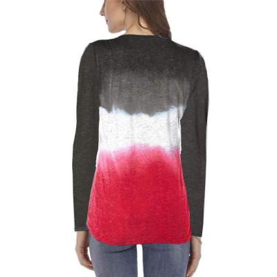 Fashion Gradient Long sleeve Fastener T-Shirts