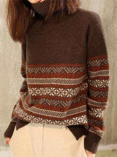 Fashion Stripe print High collar Long sleeve Sweaters