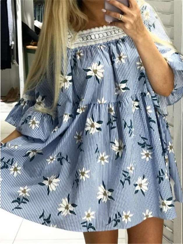 Casual Square collar Half sleeve Print Shift Dresses