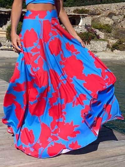 Floral Printed strapless maxi dresses for women