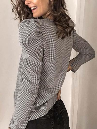 Chic puff sleeves  v-neck long sleeve shirt Blouses