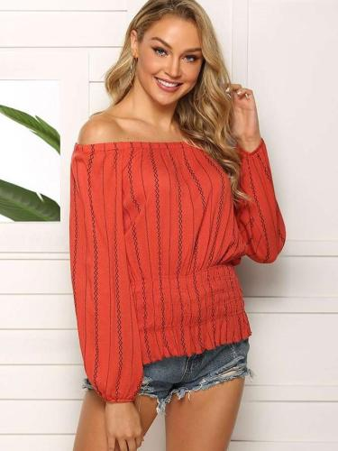 Loose Casual One shoulder Long sleeve Blouses