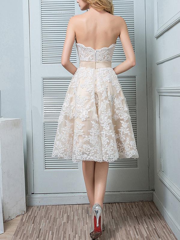 Elegant Formal Plain Lace Off Shoulder High Waist Skater Evening Dress