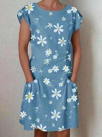 Fashion Print Round neck Short sleeve Pocket Shift Dresses