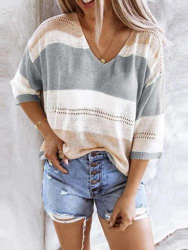 Fashion Casual Stripe Knit V neck Hollow out Sweaters