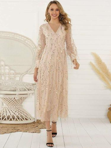 Fashion Purl Paillette Long sleeve V neck Maxi Dresses