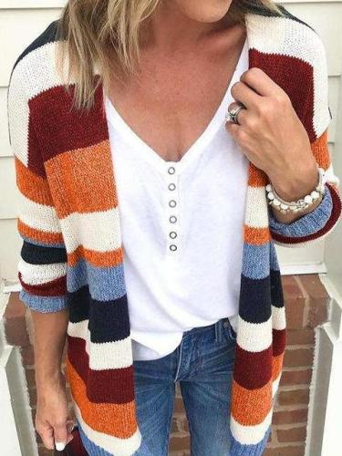 Fashion Stripe Long sleeve Knit Cardigan