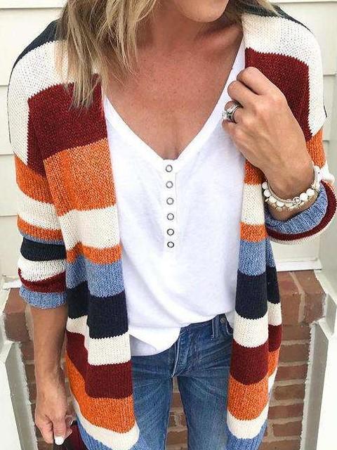 Fashion Stripe Long sleeve Knit Cardigan