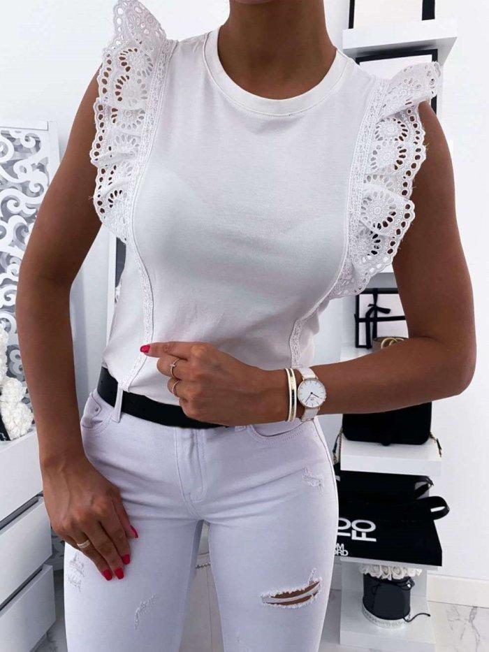 Fashion Pure Lace Falbala Round neck Sleeveless T-Shirts