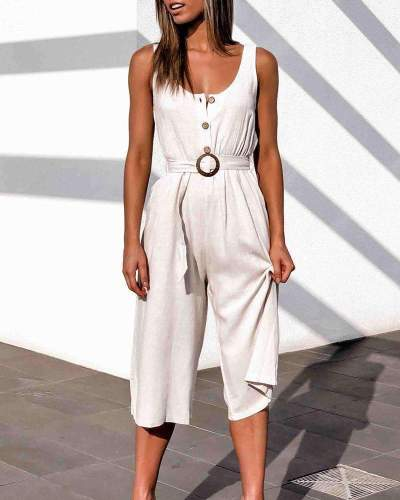 Casual Pure Round neck Vest Fastener Belt Jumpsuits