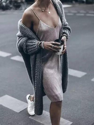 Women loose knit long cardigans coats