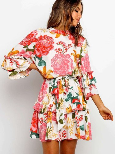 Fashion Print Roun neck Long sleeve Skater Dresses