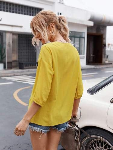 Fashion Casual Pure V neck Fastener Twist Half sleeve Blouses