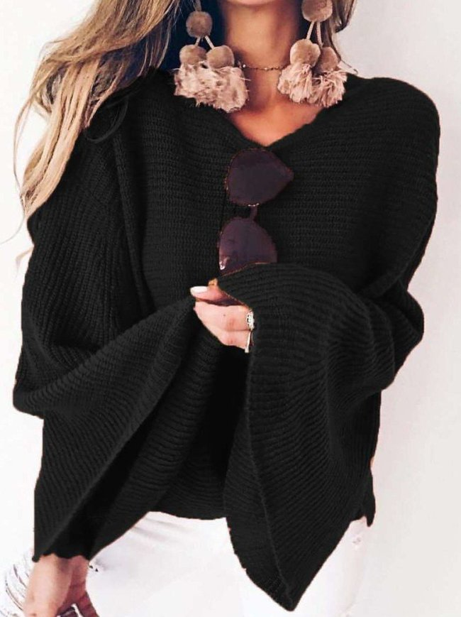 Loose Pure Knit Round neck  Mandarin sleeve Sweaters