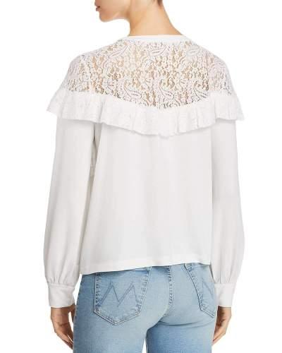 Sexy Pure Lace Hollow Falbala Long sleeve T-Shirts