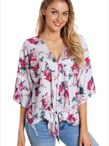 Floral V neck Batwing sleeve Loose T-Shirts
