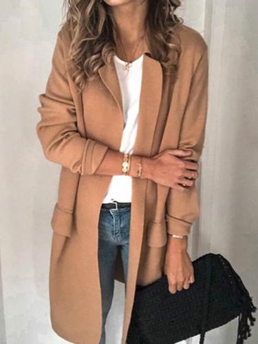 Women turn down neck long coats