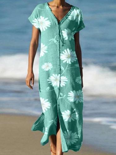 Casual Print V neck Short sleeve Single-breasted Maxi Dresses