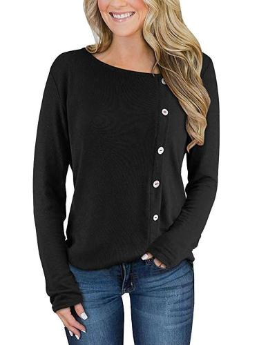Fashion Pure Fastener Long sleeve Knit T-Shirts