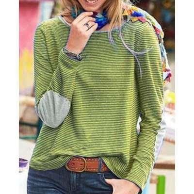 Fashion Round neck Long sleeve Stripe Gored T-Shirts