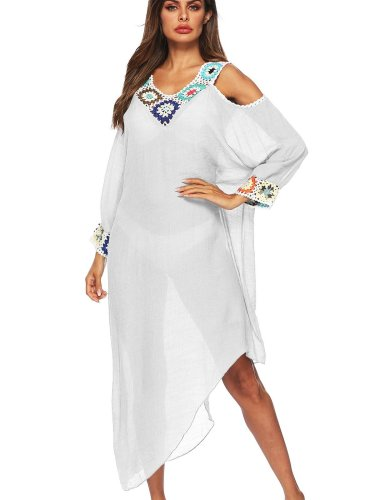 V neck Irregular Beach blouse Long sleeve Maxi Dresses