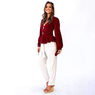 Fashion V neck Falbala Lacing Blouses