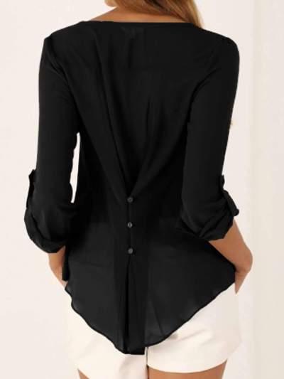 Fashion Women V neck Loose Blouses