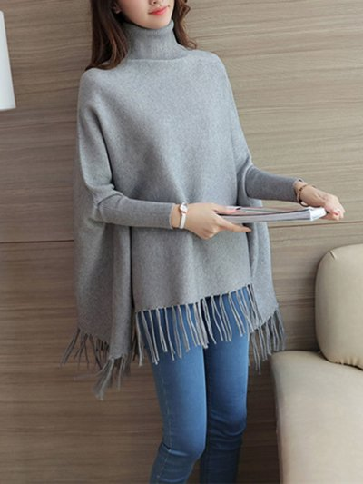 Turtle Neck Knitted Casual Plain Batwing Cape