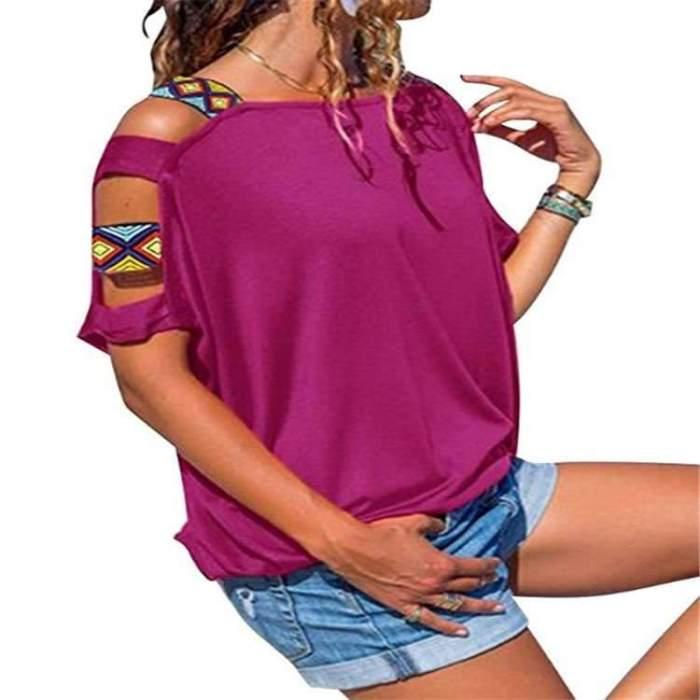 Off shoulder Pure Cutout Short sleeve T-Shirts