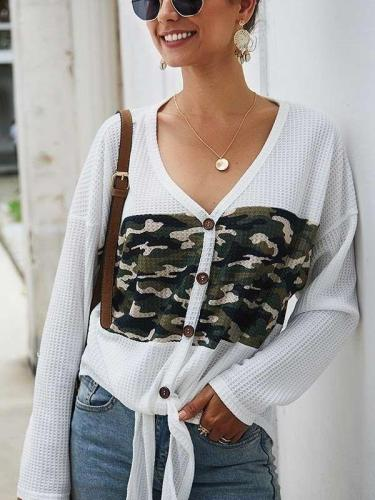 Fashion V neck Long sleeve Knit Sweaters