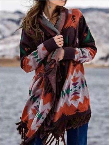Fashion Casual Print Long sleeve Macrame Cardigan