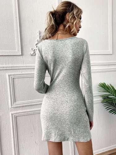 Fashion Sexy Pure V neck Long sleeve Bodycon Dresses