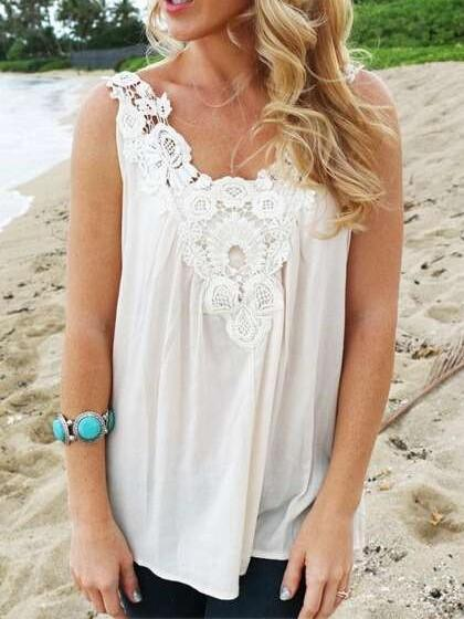 Fashion Casual Pure Lace Hollow out V neck T-Shirts