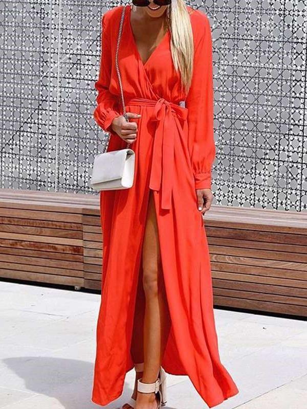 Casual Pure V neck Lacing Long sleeve Maxi Dresses
