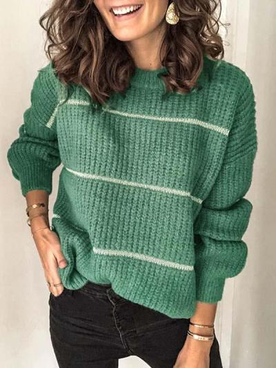 Simple round neck stripe women sweaters