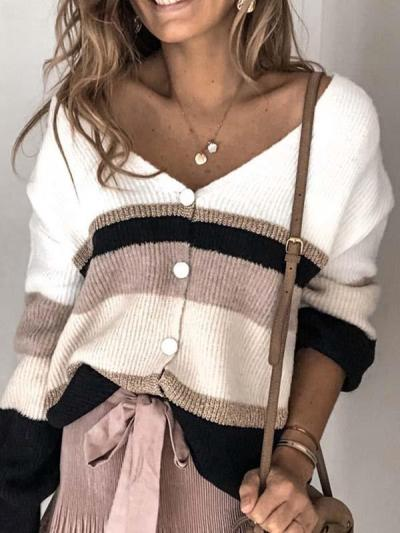single-breasted v-neck long-sleeved sweaters