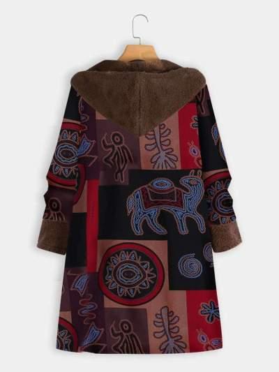 Casual Plush Plus Print Hoodies Long sleeve Coats