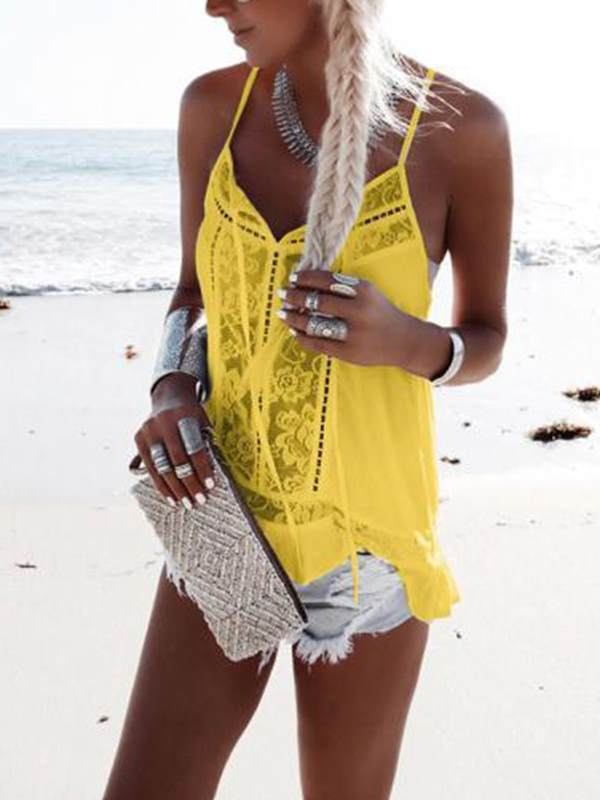 Lace patchwork sexy chiffon strap top vests