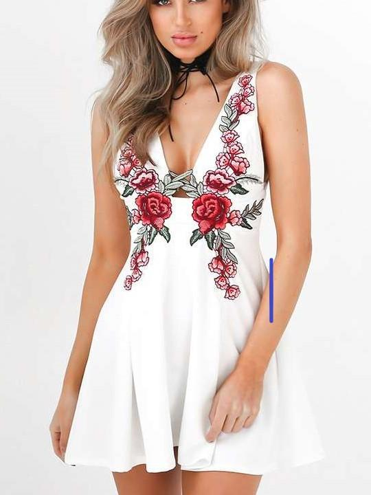 Fashion V neck  Embroidery Sleeveless Skater Dresses