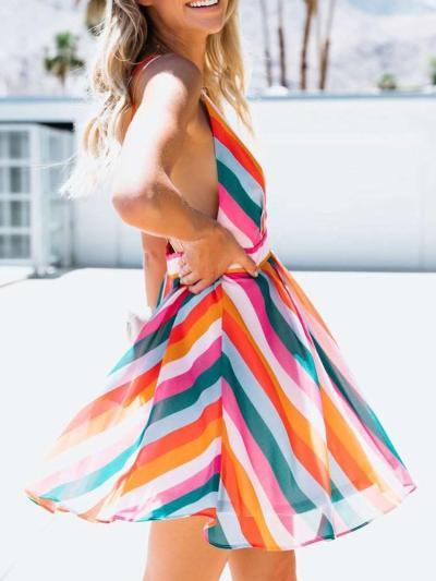 Sexy Stripe V neck Vest Backless Skater Dresses