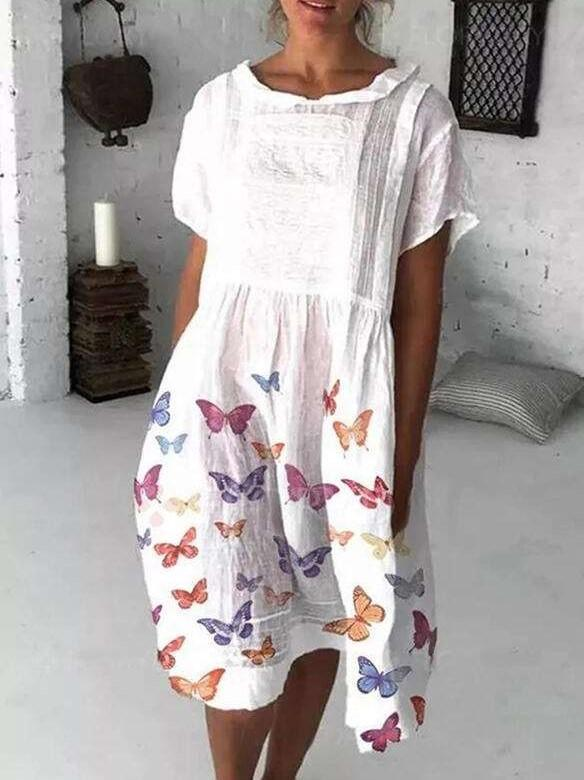 Casual Loose Print Gored Round neck Short sleeve Shift Dresses