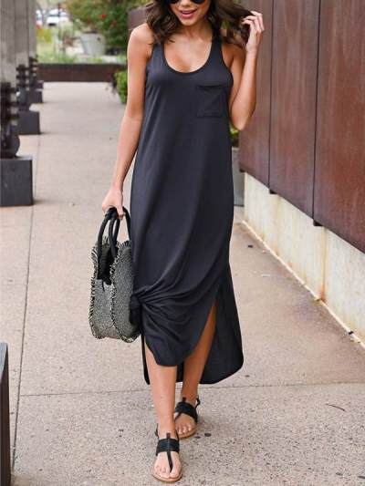 Plain Women Daily Long Sleeveless U neck Maxi Dresses