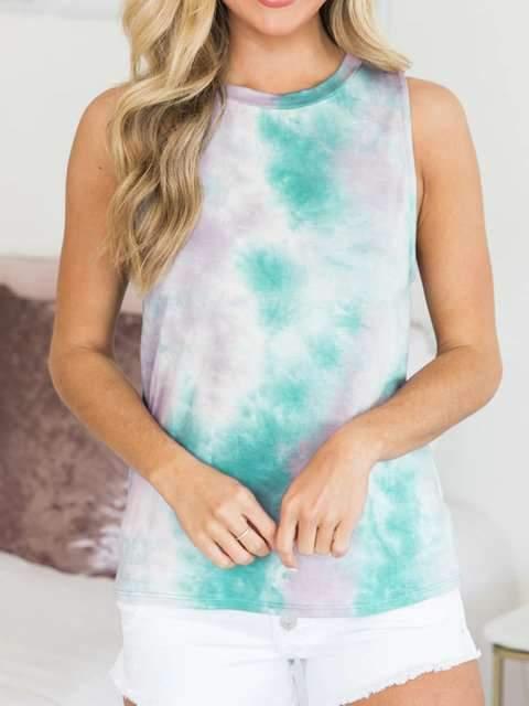 Fashion Sleeveless Print Round neck T-Shirts
