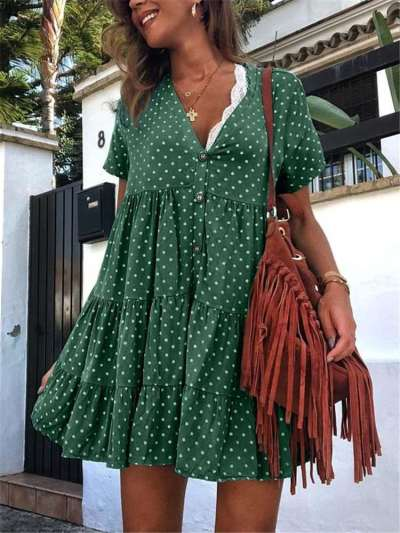 Casual Loose V neck Point print V neck Gored Short sleeve Fastener Shift Dresses